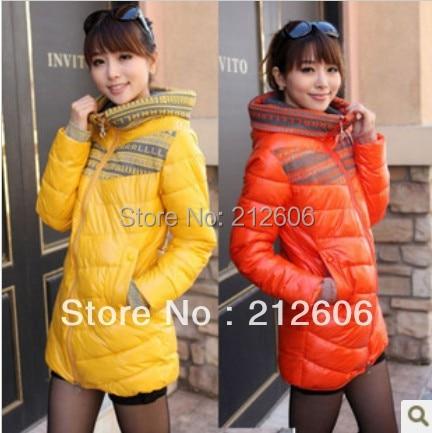 Lanluu 2014 Brand Lady Down Cotton-Padded Coat Slim Medium-Long Women's Plus size Winter Wadded Jacket SQ735