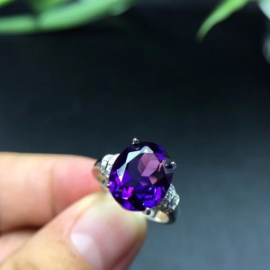 Image 3 - MeiBaPJ Natural Amethyst Gemstone Fashion Ellipse Simple Ring for Women Real 925 Sterling Silver Fine Charm Jewelry