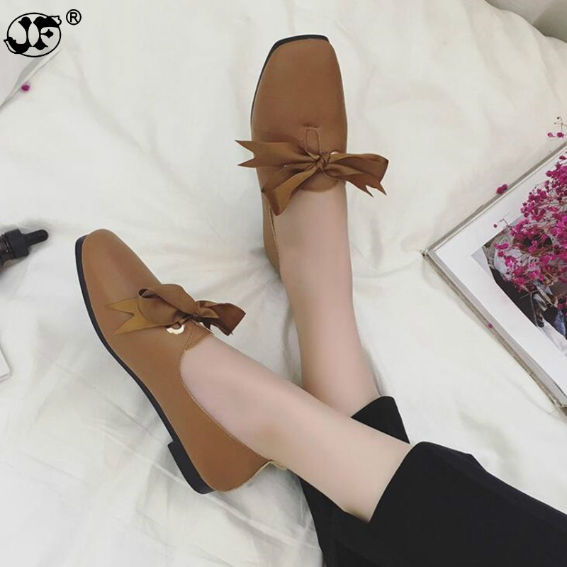 2018 Flat Shoes Woman Hand-sewn Loafers Square Top Shallow Spring Bowknot Casual Shoes Women Flats Shoes Size 35-40 569j 2018 genuine leather flat shoes woman hand sewn leather loafers flats moccasins spring casual shoes women flats women shoes c27