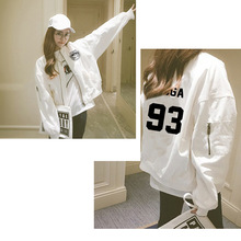 BTS KPOP spring autumn winter coat women Cotton 2018 Korean version White green Baseball clothing Letter printing zipper jacket