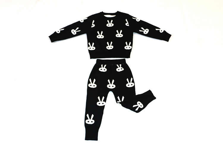 Girl's Sweater Suit Children Fleece + Haroun Pants Two-piece Outfit Baby Girl Clothing Set Autumn Winter Warm Clothes