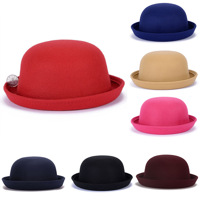2018 Fashion Winter Hat Fedora For Woman Vintage Adult Lady Cute Children Trendy Wool Felt Bowler Hats For Girl And Boy(China)