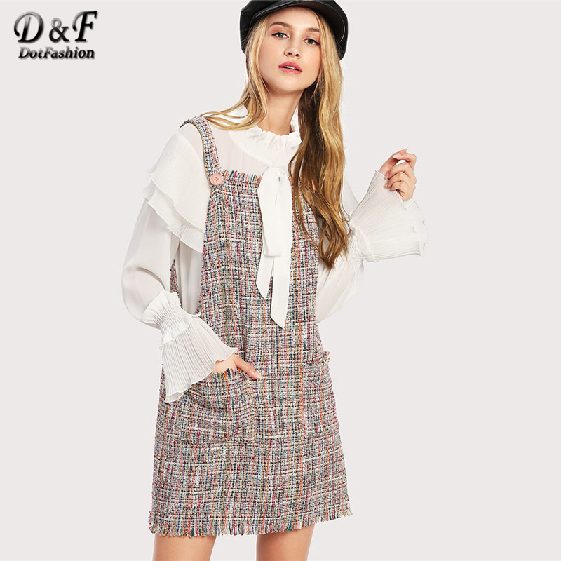 Dotfashion Fringe Trim Tweed Overall Pocket Dress 2018 Button Shift Short Pinafore Dress Women Multicolor Sleeveless Dress