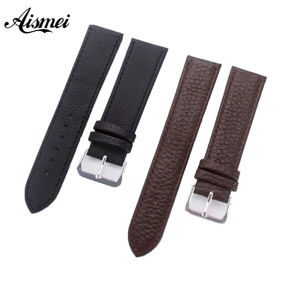 12mm 14mm 16mm 18mm 20mm 22mm Black Brown Watch band Fashion Soft Litchi Grain Genuine Leather Strap watchbands with Pin Buckle