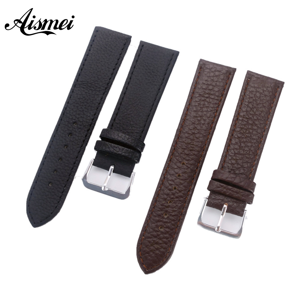 12mm 14mm 16mm 18mm 20mm 22mm Schwarz Braun Uhr Band Mode Weichen Litschi Getreide Echtes Leder Strap Uhrenarmbänder Mit Pin Schnalle