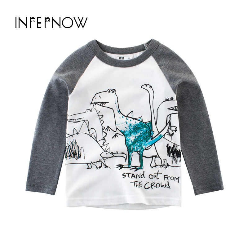 INPEPNOW דינוזאור ילדי חולצות ילד ילדים חולצת טי עם בעלי החיים הדפסת אביב 2019 לבן Teen תינוק בנות T חולצות חולצות CX-CZX24