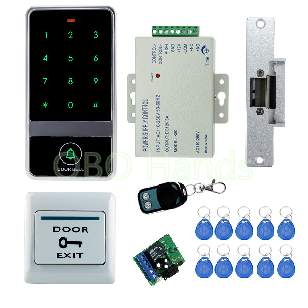ФОТО Rfid access remote control lock kit set with Electric Strike Lock+Remote control+power+exit+metal touch keypad locks system+keys