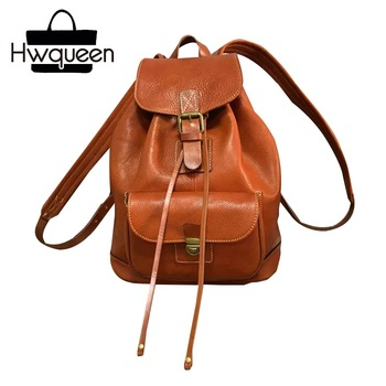 Vintage Preppy Designer Genuine Tanned Leather Girls Drawstring Travel Backpack Natural Cowhide Female Women's Black Back Pack