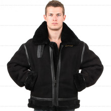 B3 shearling Bomber Fur military pilot World II Flying aviation air Leather jacket Environmental protection of leather Men's
