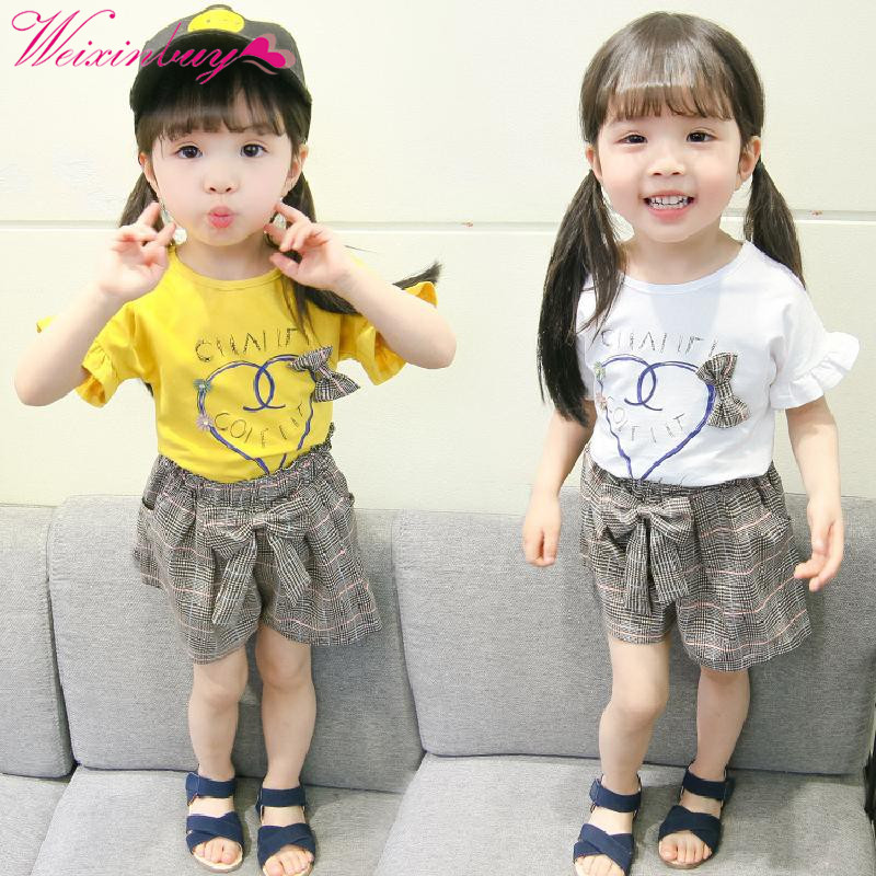 T-shirt + Plaid Shorts Set Baby Girl Clothes Fashion Summer Cartoon T-shirt + Plaid Shorts Baby Clothes Beach Girl T-shirt S ...