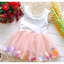 Monkids 2016 New Cute Style Kids Baby Girl Clothes Beautiful Flower Dress Sleeveless Baby Girls Clothing Princess Dress 6 Colors
