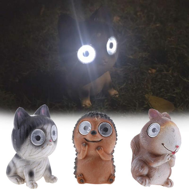 Patio Lawn Lamp Bright Eyes Solar Light LED Pet Animal Garden Ornaments Boxed Great Gift Idea Waterproof Solar Pet Animals Light