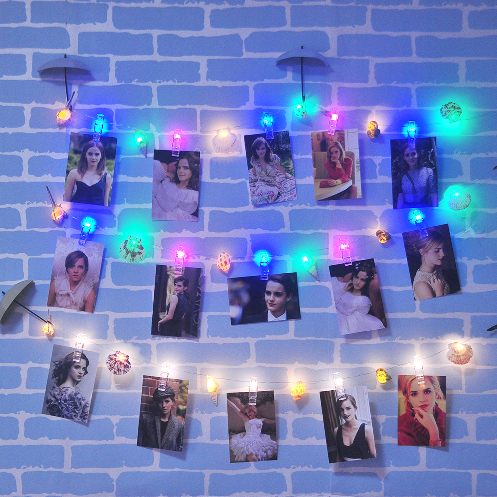 Natural Sea Shell Photo Clip LED String Lights Fairy Lights Outdoor Battery Operated Garland Christmas Decoration Party Wedding