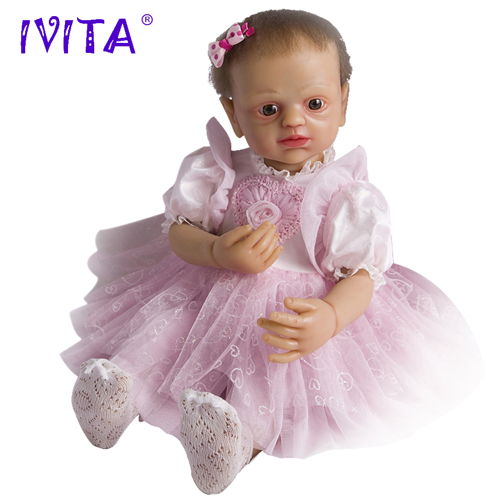 IVITA 22 Inches Silicone Reborn Babies Realistic Metal Skeleton Blue Eyes Silicone Doll Reborn Dolls Root Hair Baby Dolls Toys