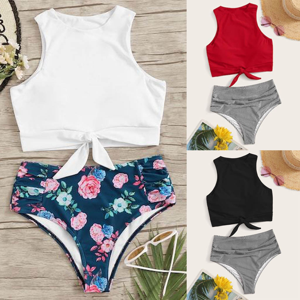 Swim Suit Women Swimwear Women's Bikini Set Two Piece Knot Front Crop Top Swimsuit With Floral Bottom Dropshipping