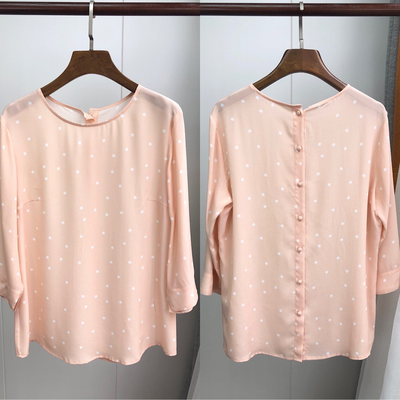 Women Shirt Polka Dot Round Neck Silk Top 2019 Early Summer Gentle Light Powder Back Small