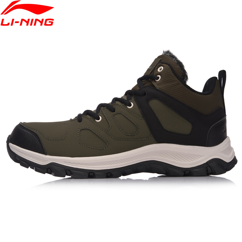 Li-Ning Men Hiking Boots Hi Hiking Shoes WARM SHELL Classic Winter Walking Sneakers Comfort LiNing Sports Shoes AGCM189 YXB101 winter men s outdoor warm cotton hiking sports boots shoes men high top camping sneakers shoes chaussures hombre