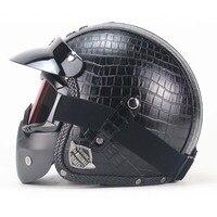 BLack PU Leather Harley Helmets 3 4 Motorcycle Chopper Bike Helmet Open Face Vintage Motorcycle Helmet