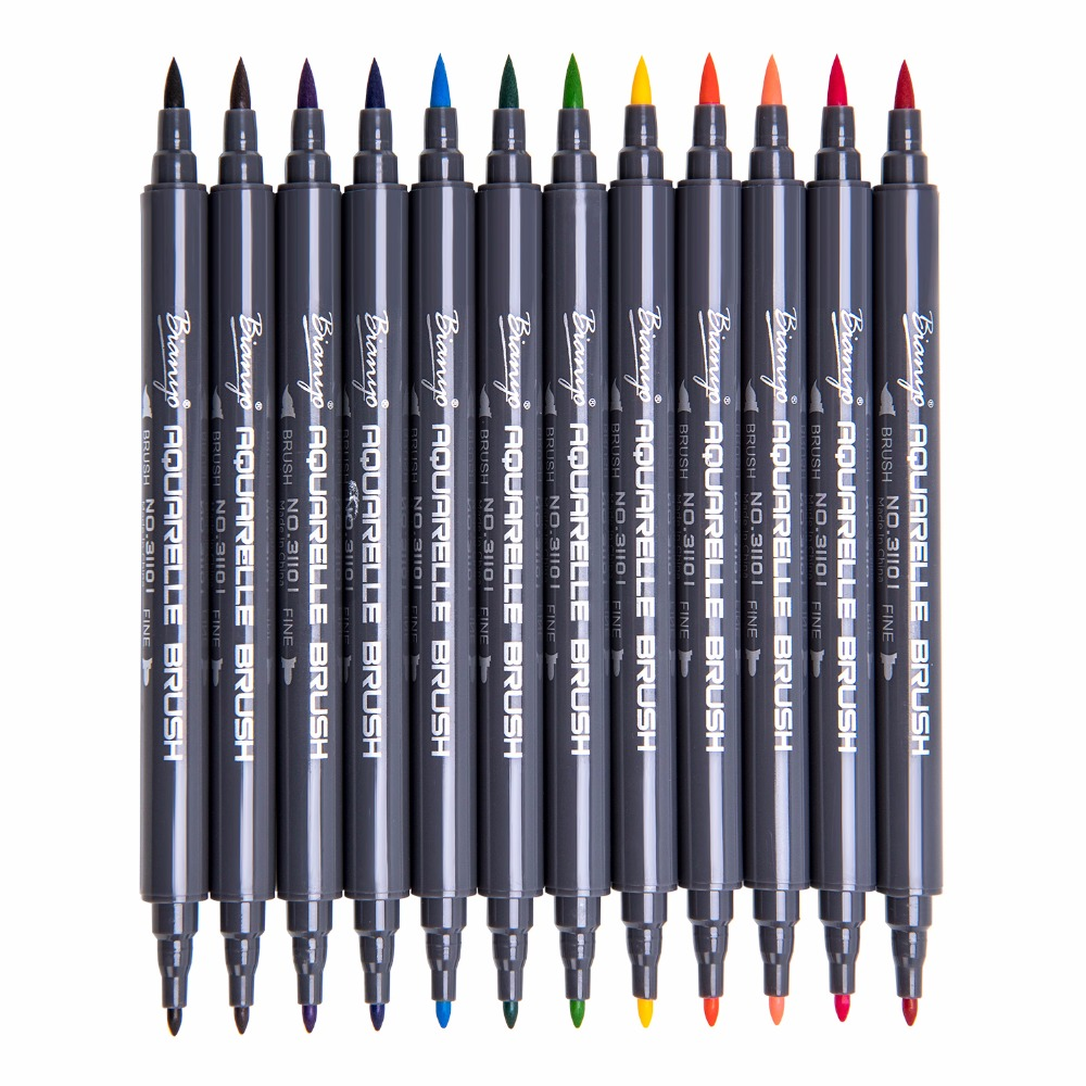 Bianyo 12Color Dual Tip Watercolor Markers, Soft Brush Color Pen for School Children Color Books Fineline Brush Pen Art Supplier
