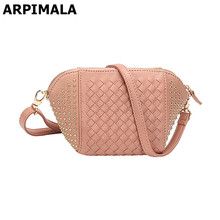 6e4ceda645f8 ARPIMALA 2018 Leather Handbags Women Evening Clutch Bags Luxury Designer  Stud Knit Evening Bag Small Ladies