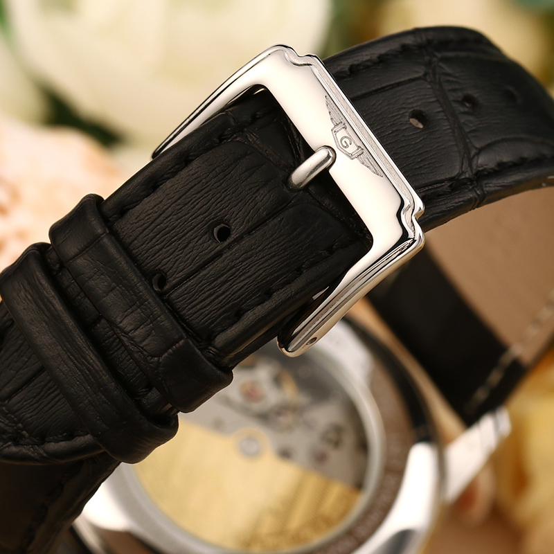 Bărbaţi   s ceasuri Relogio Masculino GUANQIN 2018 Mechanical Automatic business  Mens Watches Top Brand Luxury Leather Wrist watch clock men 008815A 6e52b7d6dd4