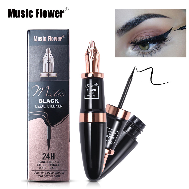 Eyeliner Music Flower Brand Eyes Makeup Tattoo Seal Liquid Eyeliner Pen Waterproof Matte Black Stamp Wanton Eye Liners 24hr Long-lasting