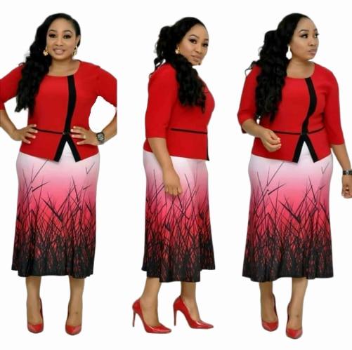 2019 New Elegent Fashion Style African Women Printing Plus Size Dress L-3XL
