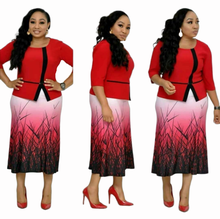2019 new elegent fashion style african women printing plus size dress L-3XL