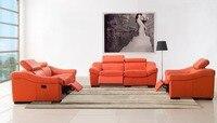 Designer Modern Style Top Graded Cow Genuine Leather Corner Living Room Sofa Set Suite Home Furniture