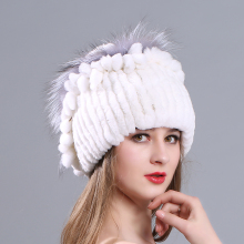 MIARA.L 2018 new and high quality otter rabbit fur lady hat handmade for wholesale