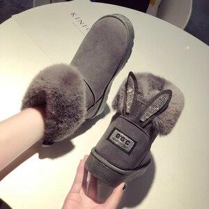Image 2 - SWYIVY שלג מגפי נשים 2019 אישה חורף קרסול מגפי חמוד ארנב שחור נעליים יומיומיות אישה נעלי קטיפה עם פרווה Bottine Femme
