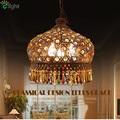 2016 Mediterranean Style Lustre De Crystal E27 Led Pendant Light Creative Vintage Bohemia Painted Iron Foyer Led Pendant Light