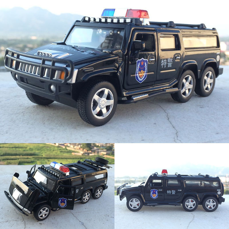 New 1:32 Six Rounds Of Hummer Police Flashing Diecast Car Model With Pull Back Four Doors Open Model Toys Car For Kids Gifts