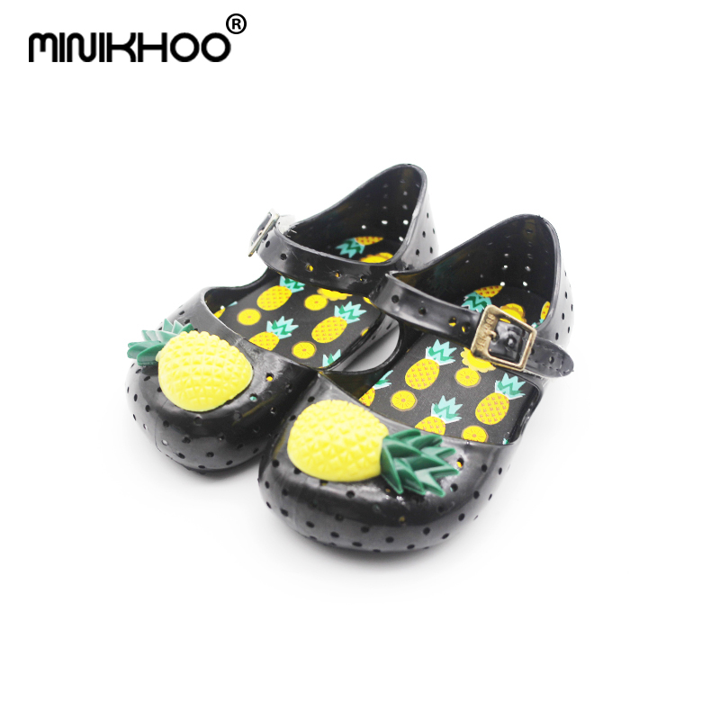 Mini Melissa FURADINHA VII Pineapple Jelly Sandals Fruit Summer Jelly Children Shoes Girl Jelly Shoes 3 Color Beach Sandals