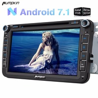 Wholesale! 2 Din 8'' Android 7.1 Car DVD Player GPS Navigation Car Stereo For VW/Skoda/Seat/Golf Wifi 3G FM Rds Radio Headunit