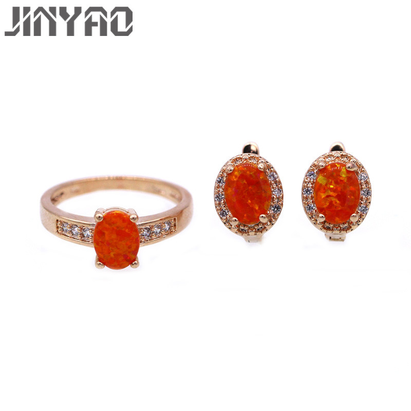 JINYAO Fashion Wedding Party Jewellery Gold Color Charming Orange Fire Opal &Zircon Earrings Ring Jewelry Sets For Women Gift charming solid color footprint cuff ring for women