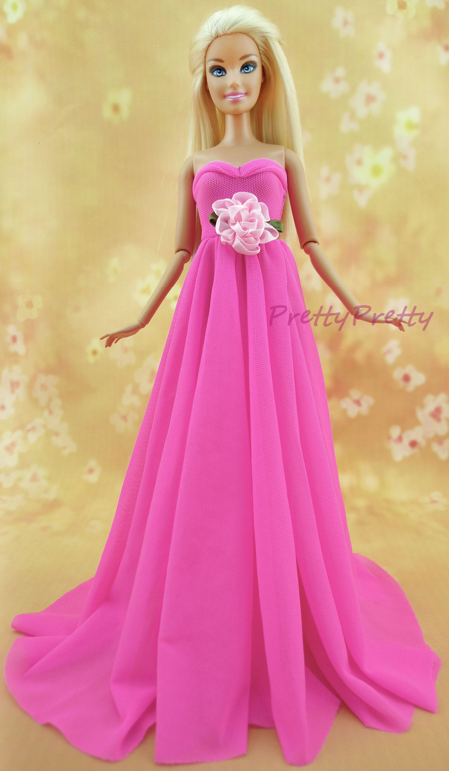 Handmade Pink Dress Wedding Party Gown Beautiful Strapless Princess Skirt Clothes For Barbie Doll Accessories Girls Gift Toy