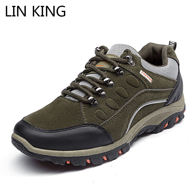 LIN KING Fashion Comfortable Men Casual Shoes Shallow Lace Up Ankle Shoes Anti Skid Sneakers Man Outdoor Travel Climbing Shoes lin king women casual shoes leisure lace up wedge shoes fashion low top massage ankle shoes solid massage outdoor single shoes