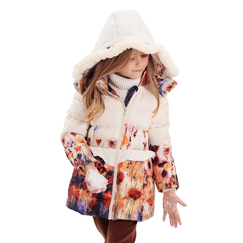 KAMIWA 2018 Girls Winter Coats Floral Printing White Duck Down Jackets Cotton-padded Parkas Clothes Children Girls Clothing girl winter coats 2018 cat printing and jackets kids outwear warm down jacket girls clothes parkas children baby girls clothing