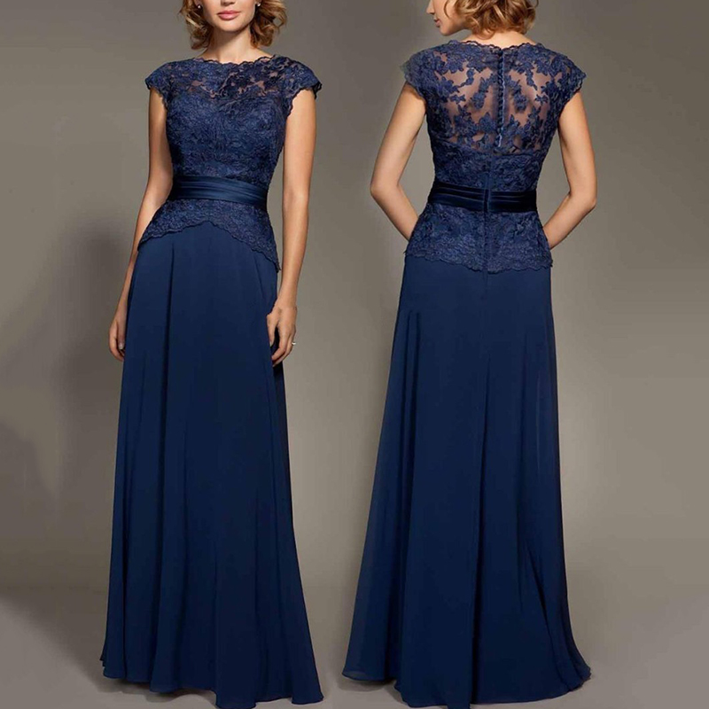 Glamorus Scoop Neck Navy Blue Mother Dresses 2018 Lace Appliques Chiffon Prom Party Dress Long Robe De Soiree Hot Prom Gowns