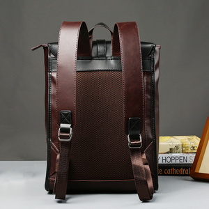 Image 2 - Vintage Laptop Leather Backpacks for School Bags Men PU Travel Leisure Backpacks Retro Casual Bag Schoolbags Teenager Students