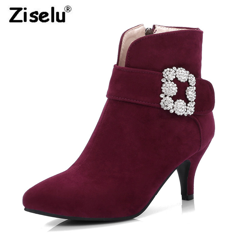 Quality Suede Pointed Toe Women Winter Ankle Boots Warm Plush Spike High Heel Boots 2018 Spring New Fashion Big Size Casual Shoe