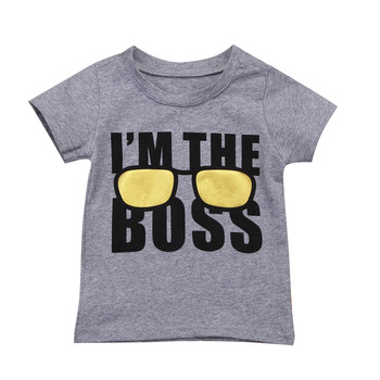 Baby Boy Cotton T-shirt 2018 Newest Summer Short Sleeve T-shirts For Boys Casual I'm The Boss Tops Tee Newborn Baby Boy Clothing