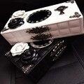 Cajas De Papel caja de Pañuelos Coche de Cuero personalizada Aleación Chrome Hearts Titular Creativo Flor de Cristal Hecha A Mano Caja de la Caja-Negro/Blanco
