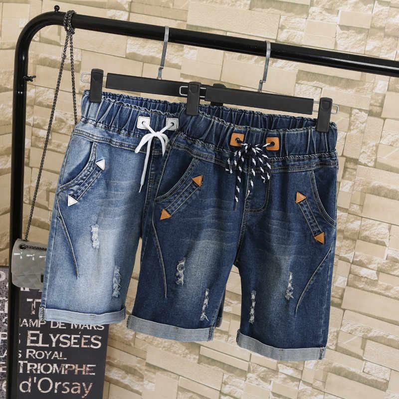 Женские брюки-шаровары со шнурком, джинсовые штаны большого размера 5XL, рваные, короткие, до колена, TT2615, для летнего сезона