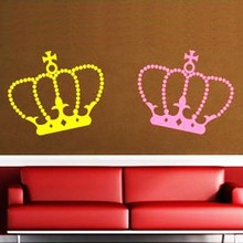 KING & QUEEN Crown Wall Vinyl Stickers Art Decal Reusable & Removable Decal fashion custom made wedding decoration poster