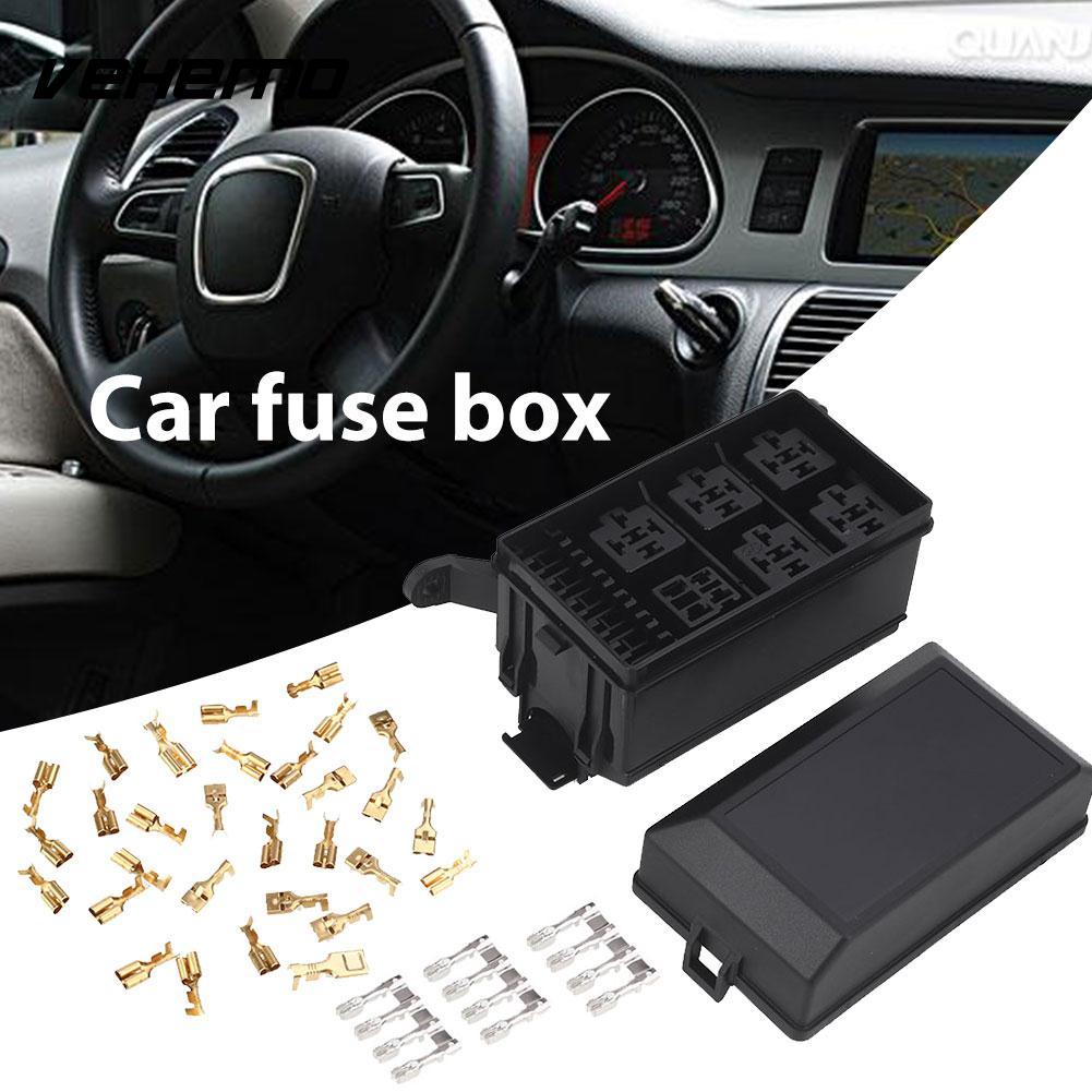 medium resolution of vehemo black with 33 pins fuse box holder 6 relay block holder 5 road universal spare