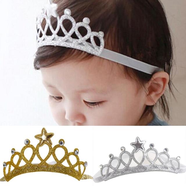 Ouro prata Cor Meninas Da Criança Princesa Recém-nascidos Headbands Bebê  Bonito Headwear Hairband Bow 5e0027992817
