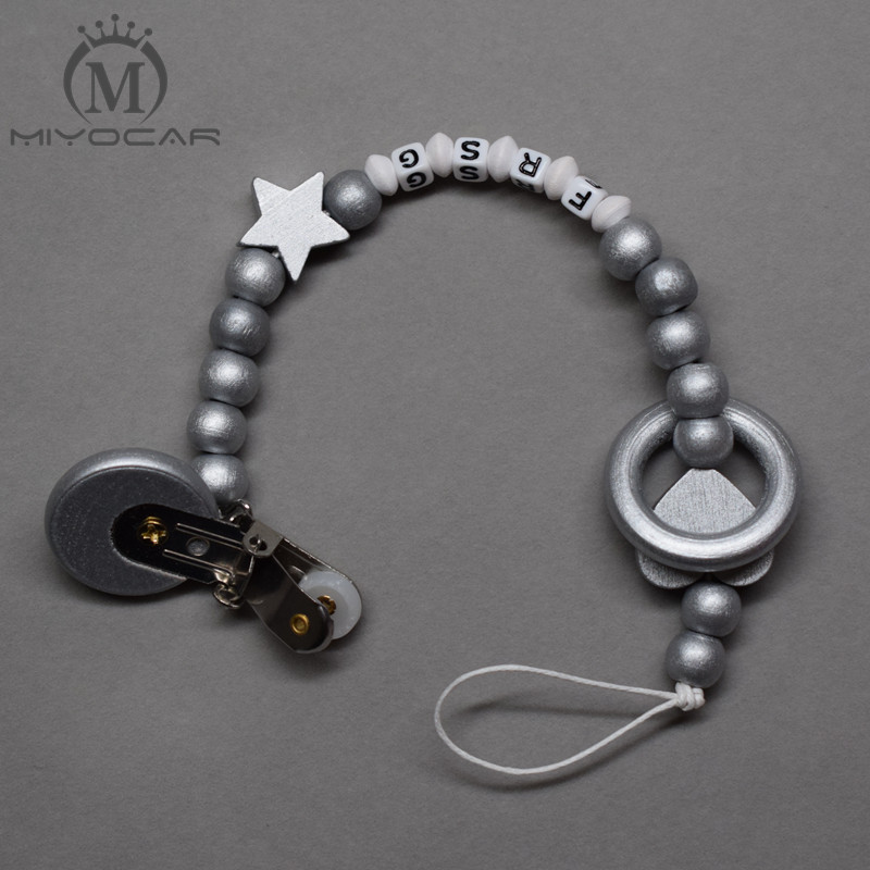 MIYOCAR personalized any name luxurious all sliver wooden beads dummy clip holder pacifier clips holder/Teethers clip for baby