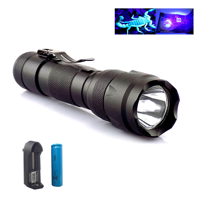 Powerful Uv Flashlight Purple Linternas 395nm Led Flash Torch Light Lamp Ultra Violet Ultraviolet Lamp + 18650 Battery +Charger high lumen powerful small led flashlight torch cree xm l2 pocket flash light lamp linternas with 18650 battery ac home charger